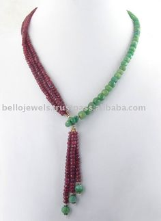Source Natural Ruby Emerald Beaded Necklace India- Bello Jewels on m.alibaba.com