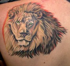 Lion Tattoo With Red Outline 3