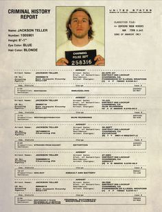 OK, who's a Sons of Anarchy fan? Because here's Jax Teller's full arrest record. You're welcome.