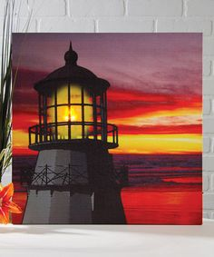 Never seen a light up canvas before...Look what I found on #zulily! Lighthouse Sunset Light-Up Canvas by Ohio Wholesale, Inc. #zulilyfinds