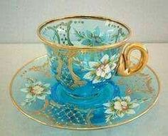 Painted glass tea cup set, You can appreciate breakfast or various time times using tea cups. Tea cups also provide ornamental features. Once you consider the tea cup versions, you might find that clearly. Tea Cup Set, My Cup Of Tea, Tea Cup Saucer, Tea Sets, Glass Tea Cups, China Tea Cups, Vintage Cups, Antique Tea Cups, Teapots And Cups