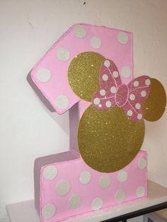 Minnie mouse numero piñata. rosa y oro minnie mouse por aldimyshop Piñata  De Minnie 4ada051a2eb