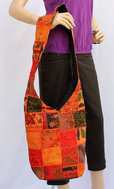 Amazingly crafted embroided patch work Jhola or shoulder fabric bag