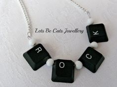 ROCK recycled computer keyboard necklace by LetsBeCats on Etsy, £8.00