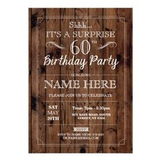 50th Birthday Party Invitations SURPRISE 60th Birthday Party Rustic Wood 60 Invite