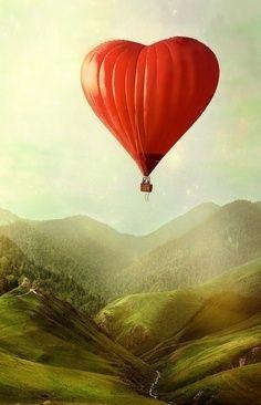 Cute heart-shaped hot air balloon!