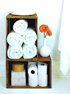 really cute idea...use old crafts as bathroom storage