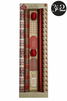 Buy 6m Red Stag And Tartan Wrap Compendium from the Next UK online shop - Contains 4 x 1.5m wrap with 8 tags and 2 x 10m polka dot ribbon.  - £6.50