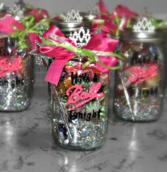 """I was recently in a pageant as a """"has been"""" or a returning contestant. So our group decided to make a little something for the girls. This idea was so cheap and cute at the same time :)"""