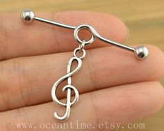 music note industrial barbell piercing,music note industrial barbell earring jewelry, music note ear jewelry,friendship from OceanTime on Etsy. Tragus, Cartilage Jewelry, Ear Jewelry, Body Jewelry, Jewlery, Barbell Earrings, Barbell Piercing, Fake Piercing, Piercing Industrial Oreja