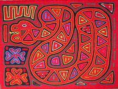 60s-70s - Red Snake - Cool Dude -Ottomano -- SAN BLAS KUNA INDIAN MOLA