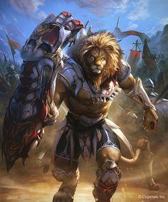 Ironfist Beast Warrior by kazashino on DeviantArt Fantasy Races, Fantasy Warrior, Fantasy Character Design, Character Art, Mythical Creatures Art, Fantasy Beasts, Lion Pictures, Lion Art, Fantasy Monster