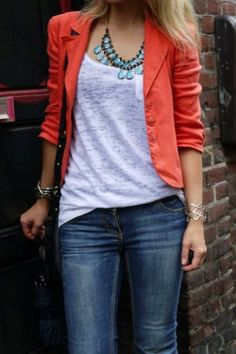 casual blazer, jacket ,blue jeans . Stylish outfit | Gloss Fashionista
