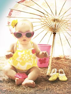 Baby girl summer beach photography. Pretty creative vacation pictures.6 months photos copyright Chrissy Costigan Photography Facebook.com/chrissycostigan