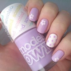 lilac and white flower and polka dot cute Spring nail design