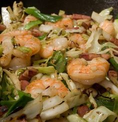 100g shrimp 200g cabbage 4 T homemade broth 1/2 t onion powder 1/2 t garlic powder (or use fresh minced, if available) 1 1/2 t Bragg Liquid Aminos black pepper ...