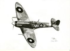 Greeting Card - Pen & Ink Drawing, - Spitfire by PetesPiccies on Etsy Spitfire Tattoo, Airplane Drawing, Airplane Sketch, Airplane Tattoos, Aviation Art, Aviation Tattoo, Cute Little Drawings, Ink Pen Drawings, Memorial Tattoos