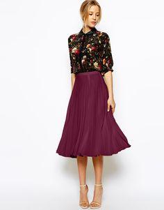 Image 1 ofASOS Pleated Midi Skirt