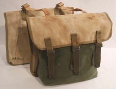 2 Vtg WW2 US Army 3 Tone Canvas Pannier Touring Saddle Bags Bicycle Motorcycle | eBay