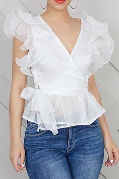 Ruffle Sleeve See-Through Plain V-Neck Short Sleeve Women's Blouse Blous. - Ruffle Sleeve See-Through Plain V-Neck Short Sleeve Women's Blouse Blouse tops - Blouse Styles, Blouse Designs, Modest Fashion, Fashion Dresses, Fashion Blouses, Dress Outfits, Casual Outfits, Blouses For Women, Women's Blouses