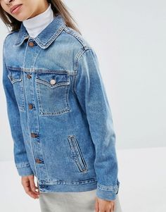 a1fbd2fa881 PETITE Denim Girlfriend Jacket in Astrid Mid Stonewash Blue