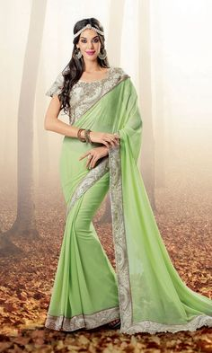 Shop Green Georgette Fabric Heavy Embroidered Blouse Party wear Saree Online at IshiMaya Fashion - SAEBRVS7174