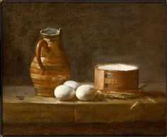 "Jean-Baptiste-Siméon Chardin, ""Still Life with Jug, Eggs and Cheese"", oil Dream Photography, Underwater Photography, White Photography, Landscape Photography, Travel Photography, Fashion Photography, Watercolor Mixing, Pen And Watercolor, Painting Still Life"
