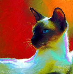 Cats Painting - Siamese Cat 10 Painting by Svetlana Novikova