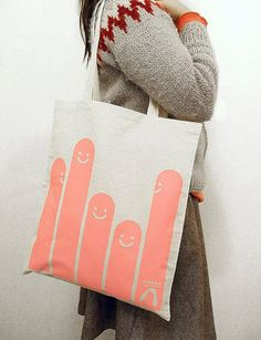 Pink happy worm tote bag
