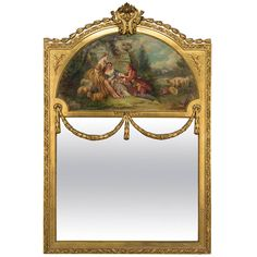 19th Century Louis XVI Style Gilt Trumeau Mirror | From a unique collection of antique and modern trumeau mirrors at https://www.1stdibs.com/furniture/mirrors/trumeau-mirrors/