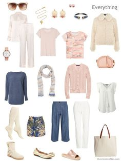 travel capsule wardrobe in bone, peach and denim blue