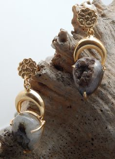 Unique Designer Stud Dangle Earring Natural Brown Druzy Gemstone With 22k Yellow Gold Plated Handmade Jewelry Stock