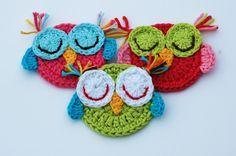 Crochet Sleepy Owl Appliques