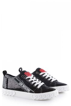 Love Moschino Damen Sneaker mit Pailletten Schwarz | SAILERstyle Sneaker Outfits, Moschino, Trends, Sneakers, Shoes, Fashion, Sequins, Bags, Black