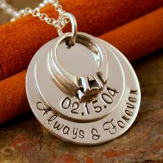 Hand Stamped Anniversary Necklace - Personalized Sterling Silver Jewelry - My Anniversary Deluxe (Limited Edition)