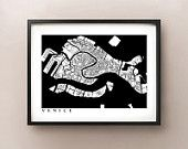 Venice Map - Black and White - Italy Art Poster