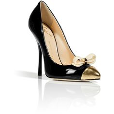 GIUSEPPE ZANOTTI Black Patent Bow Embellished Pumps ($486) found on Polyvore