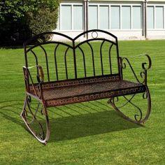 Poze BAM202 - Banca metalica gradina - Maro/Bronz, Balansoar Porch Swing, Outdoor Furniture, Outdoor Decor, Bench, Exterior, Chair, Metal, Home Decor, Wrought Iron