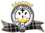 """Moffat Clan Crest and Tartan """"A crest coronet and issuing therefrom a cross crosslet fitchée Sable surmounted of a saltire Argent"""".Moffat Clan Motto is """"SPERO MELIORA"""", translated as """"I hope for better things"""". Chief: Jean Moffat of that Ilk. MacRory Mor"""