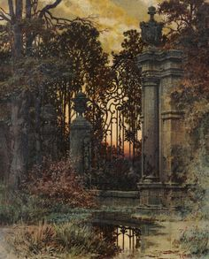 View Abendstimmung vor dem Park by Ferdinand Knab on artnet. Browse upcoming and past auction lots by Ferdinand Knab. Traditional Paintings, Traditional Art, Fantasy Places, Fantasy Art, Art In The Park, Classic Paintings, Art Graphique, Gothic Art, Ferdinand
