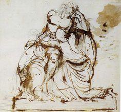 Johan Tobias Sergel  -  Akilles med tröstande tärna, 1775