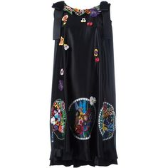 Fendi floral embroidered dress (62.128.650 IDR) ❤ liked on Polyvore featuring dresses, black, round neck sleeveless dress, flared dresses, round neck dress, embroidery dresses and embroidered flower dress