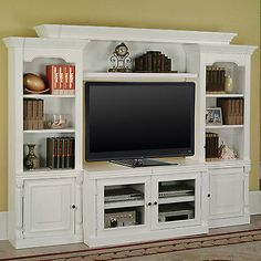 White Vintage TV Stand Entertainment Center Wall Unit Furniture Storage Media
