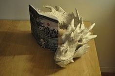 VMCreations - Three-dimensional figure of Smaug made from the pages of a Danish copy of The Hobbit.