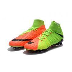 new style 9c279 2d6cb Botas De Futbol Nike Hypervenom Phantom III 3 DF FG Verde eléctrico Negro  Hype Naranja Online Baratas