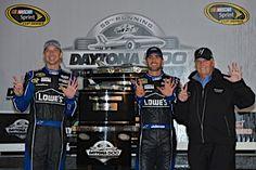 Jimmie, Chad and Rick celebrating the win at 2013 Daytona 500.