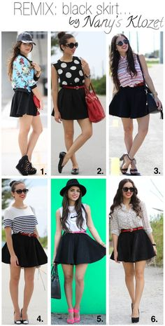 Black skater skirt, polka dots or chiffon button up or graphic tank and black hat or stripes or sweater or bomber jacket and baseball hat Skater Skirt Outfit, Black Skater Skirts, Skirt Outfits, Cute Outfits, Miami Moda, Miami Fashion, Spring Summer, Fashion Outfits, Womens Fashion