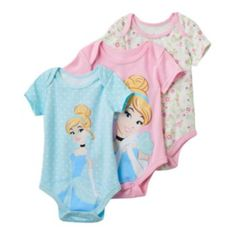 Pretty prints decorate these girls' Disney's Cinderella bodysuits with adorable style that's perfect for your little princess. In blue/pink. Disney Baby Clothes, Disney Outfits, Baby Disney, Cute Princess, Princess Outfits, Little Princess, Learning Styles, These Girls, Little Babies