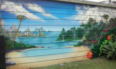 backyard beach..You think we could paint the backyard fence like this????