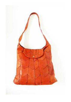 Vintage Cognac Leather Chevron Patchwork Bag by alchemievintage